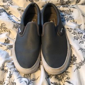 Vans gray perforated leather slide-on sneakers